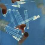 A depiction of a work of art that is blue from it's cyanotype process with reddish magenta beet ink. The cyanotype depicted shows used needles. There is an abstract quality to the work, though the needles are recognizable.